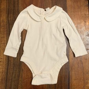 Gap Baby Ivory Peter Pan Collar Ribbed Bodysuit